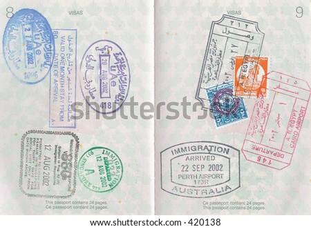 Passport Stamps - stock photo