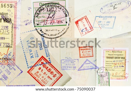 Passport stamps background with various countries - stock photo