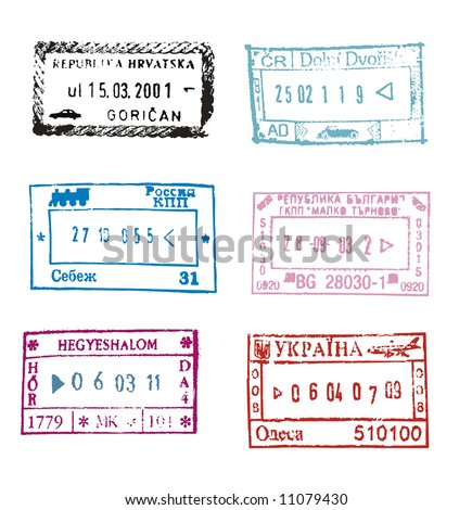 Passport stamps from Croatia, Czech Republic, Russia, Bulgaria, Hungary, Ukraine isolated on white