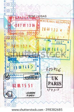 Passport stamps of Ukraine, Russia, Bielorussia and Moldova - stock photo
