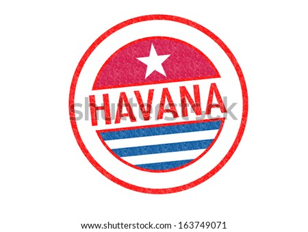 Passport-style HAVANA (Cuba) rubber stamp over a white background. - stock photo