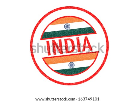 Passport-style INDIA rubber stamp over a white background. - stock photo