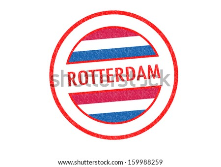 Passport-style ROTTERDAM rubber stamp over a white background. - stock photo