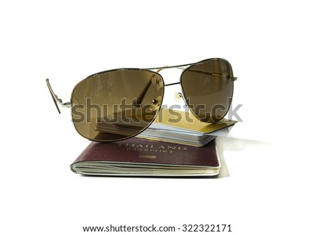 Passport , sun glass  and credit card , Isolated on white background - stock photo