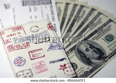 Passport, ticket and money