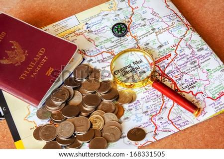 Passport to Thailand Travel Thailand enjoys saving money. - stock photo