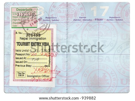 Passport Tourist Visa - stock photo