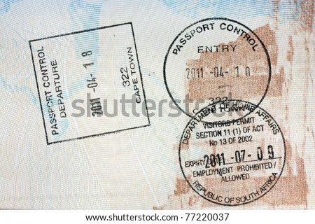 passport, visa stamps exit and entry - Cape Town, Republic of South Africa - stock photo