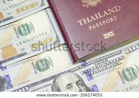 passport with bank notes - stock photo