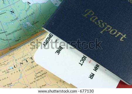 Passport (with flight boarding pass inside) on travel map - stock photo