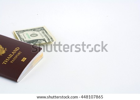 Passport with money ,Concept business travel on white background .copy space.