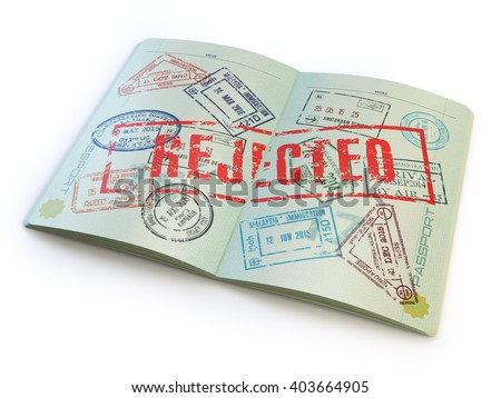 Passport with rejected visa stamp isolated on white. 3d illustration - stock photo