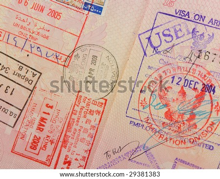 passport with thai and hongkong stamps - stock photo