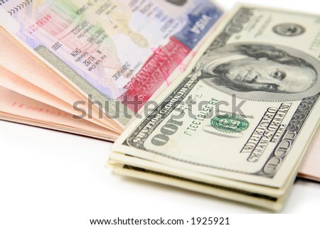 passport with us visa and us dollar, concept of travel - stock photo