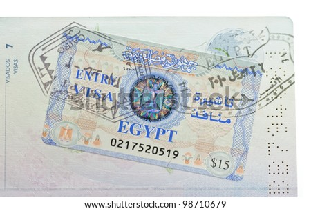 Passport with visa stamp in Egypt