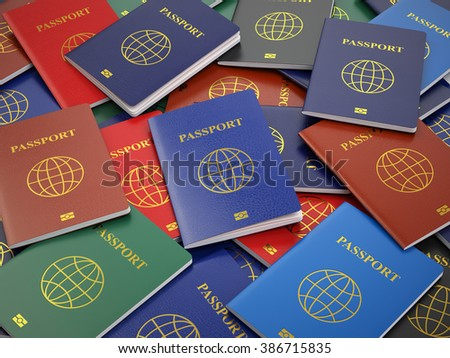 Passports, different types. Travel turism or customs concept background. 3d - stock photo