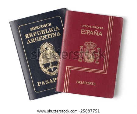 Passports from Spain and Argentina on white