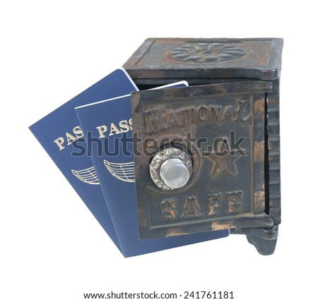 Passports in a safe for safe keeping - path included - stock photo