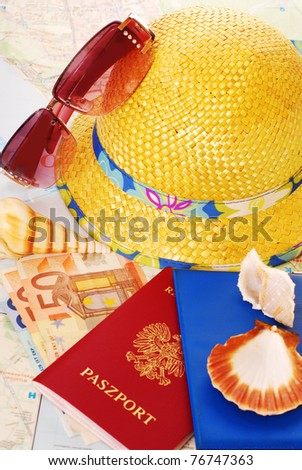 passports,money,maps,shells and other equipment as summer holidays concept - stock photo