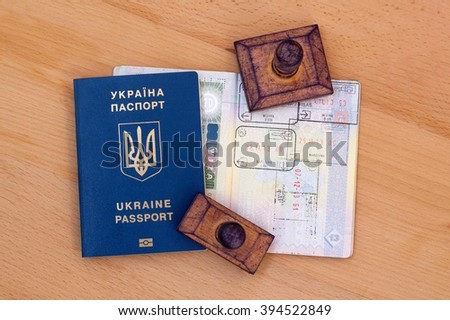 Passports with visas and stamps  - stock photo