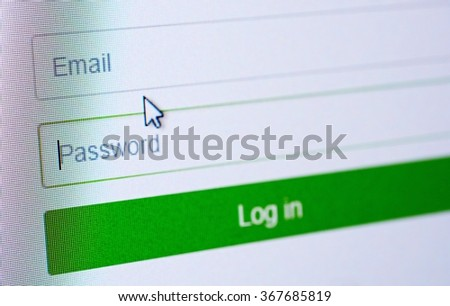 Password and email blank forms and arrow cursor at login screen on the web site. - stock photo