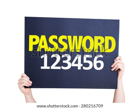 Password 123456 card isolated on white - stock photo