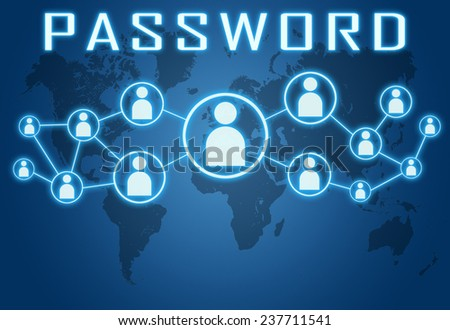 Password concept on blue background with world map and social icons. - stock photo