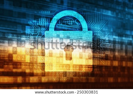 Password Data Safety Abstract Internet Technology Concept Illustration with Closed Padlock Icon and Digital Data Background. - stock photo