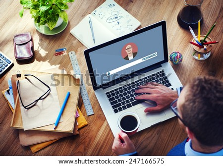 Password Digital Device Internet Wireless Searching Concept - stock photo
