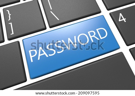 Password - keyboard 3d render illustration with word on blue key