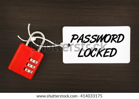 Password Locked written on label tag with combination number padlock on wooden background - stock photo