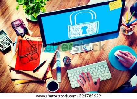 Password Privacy Log in Security Lock Guard Concept - stock photo