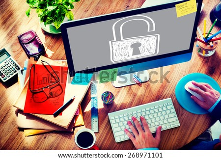 Password Privacy Log in Sucurity Lock Guard Concept - stock photo