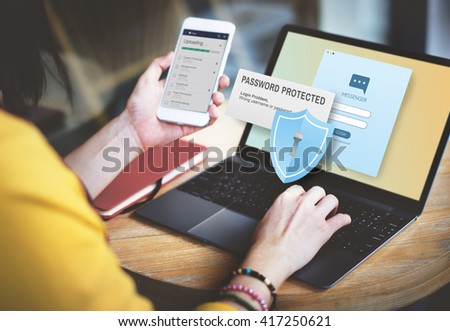 Password Protected Firewall Digital Internet Web Concept - stock photo