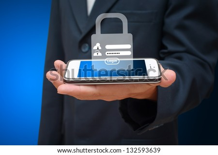 Password security for safety from mobile phone - stock photo