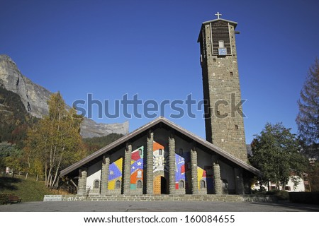 PASSY, FRANCE   OCTOBER, 24: Exterior Of Notre Dame De Toute Grace,