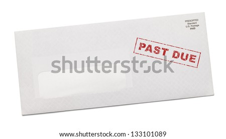 Past Due Bill with Blank Copy Space Isolated on White Background. - stock photo