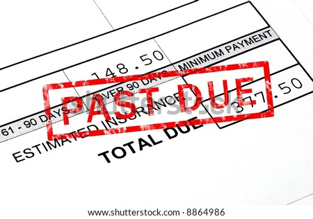 Past due stamp on a bill statement - stock photo