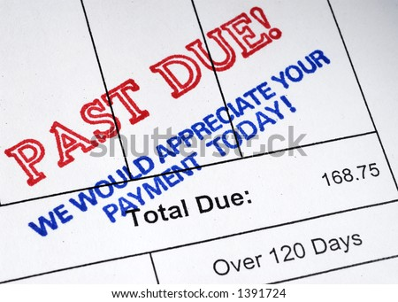 Past Due Stamp on Bill - stock photo