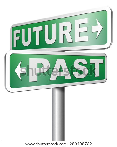 past future predict and forecast near future fortune telling and forecast evolution and progress - stock photo
