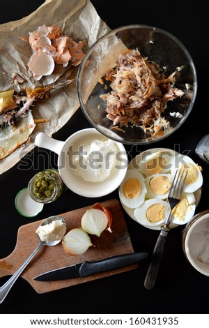 Past mackerel with eggs, capers and horseradish - stock photo