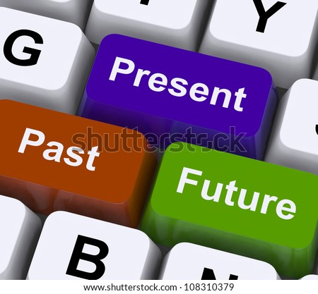 Past Present And Future Keys Showing Evolution Or Aging - stock photo