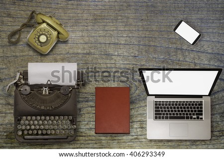 Past, present and future of technology and devices, from typewriter to computer - stock photo