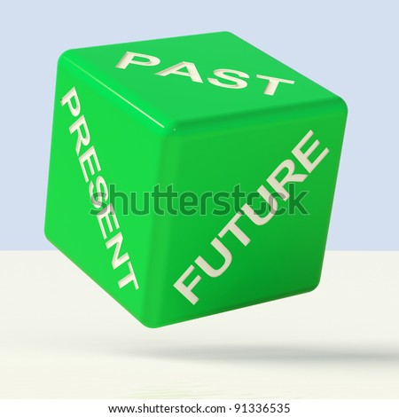 Past Present Future Green Dice Showing Evolution And Aging - stock photo