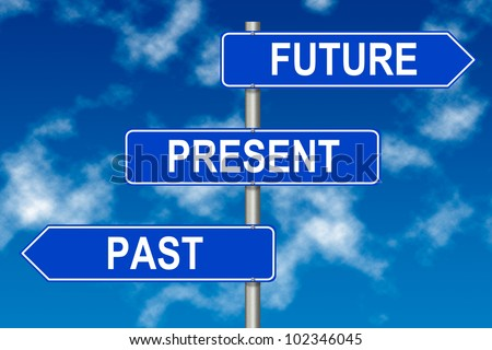 Past Present Future traffic sign on a sky background - stock photo