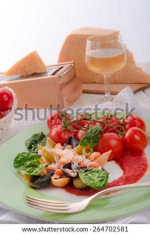 pasta and cheese - stock photo