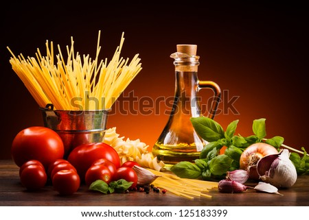 Pasta and fresh vegetables - stock photo