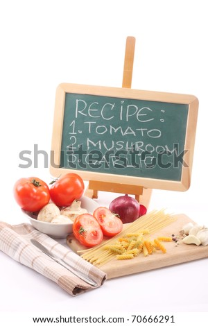 Pasta and fresh vegetables close up - stock photo
