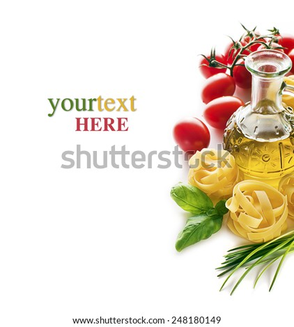 Pasta and tomatoes with basil on white background - stock photo