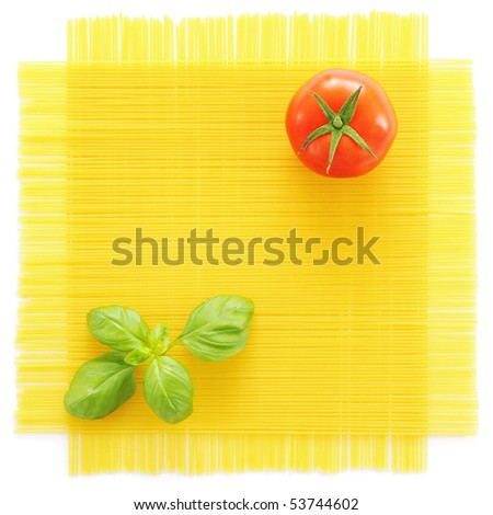 Pasta, basil and tomato isolated on white background - stock photo